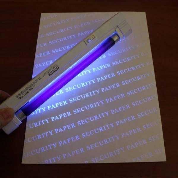 Бумага с нанесенной индивидуальной уф-меткой